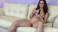 Melody Jordan lubes up a toy and takes it to the base in one go