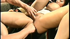 Ava Devine shows off her skills as she takes three dicks at once